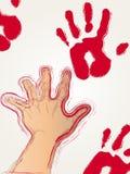 красный цвет печати краски руки Стоковая Фотография RF