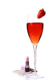 красный цвет пинка губной помады champagle стеклянный Стоковое Фото
