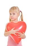 красный цвет пинка девушки платья воздушного шара Стоковые Изображения