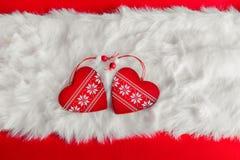 красный цвет пинка сердец рождества золотистый Стоковое Изображение