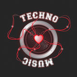 Красный цвет плаката нот Techno Стоковые Изображения RF