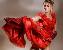 красный цвет платья открытый Стоковые Изображения RF