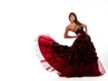 красный цвет платья плавая Стоковая Фотография