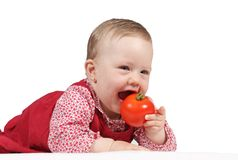 красный цвет платья ребенка Стоковая Фотография