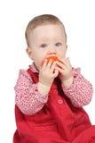 красный цвет платья ребенка Стоковое Фото