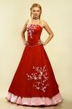 красный цвет платья симпатичный Стоковое Изображение