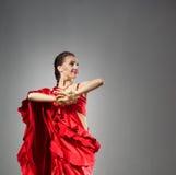 красный цвет платья танцора индийский Стоковое Изображение RF