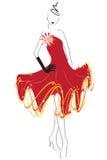 красный цвет платья Иллюстрация штока