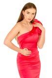 красный цвет повелительницы вечера платья Стоковые Изображения RF