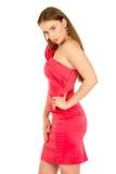 красный цвет повелительницы вечера платья Стоковое Фото