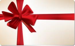 красный цвет подарка карточки смычка Стоковое Фото