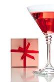 красный цвет подарка коктеила коробки Стоковое Изображение RF