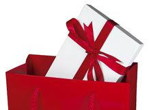 красный цвет подарка мешка близкий вверх Стоковые Фотографии RF