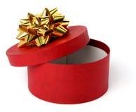 красный цвет подарка цвета коробки смычка золотистый Стоковые Фото