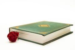 Красный цвет поднял в близкую книгу Стоковые Изображения