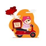 красный цвет поднял Почтальон поставляет любовные письма с милым характером медведя на скутере, в форме сердц воздушные шары иллюстрация штока