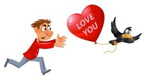 красный цвет поднял Человек мультфильма пробуя уловить ворону которая носит украденный воздушный шар формы сердца иллюстрация вектора
