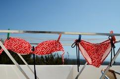 красный цвет польки многоточия бикини стоковая фотография