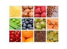 красный цвет померанцев плодоовощ коллажа яблок Лимон, голубика, мед, кофе, апельсин Стоковое фото RF