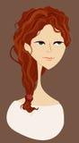 красный цвет портрета девушки с волосами Стоковое Фото