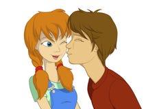 красный цвет поцелуя девушки мальчика к пробовать Стоковые Изображения RF