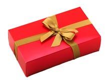 красный цвет подарка коробки смычка Стоковые Фото