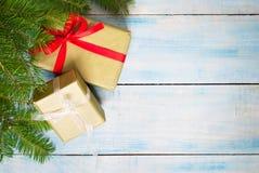 красный цвет подарка рождества коробки Стоковое Изображение