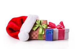 Красный цвет подарочной коробки зеленый Стоковые Изображения RF