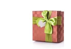 Красный цвет подарочной коробки зеленый Стоковое Изображение