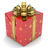 Красный цвет подарочной коробки с звездами Стоковое Изображение RF