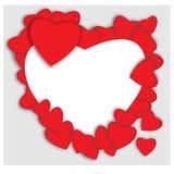 красный цвет поднял Абстрактные бумажные сердца Влюбленность - иллюстрация Стоковое Изображение RF
