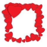 красный цвет поднял Абстрактные бумажные сердца Влюбленность - иллюстрация Стоковая Фотография RF
