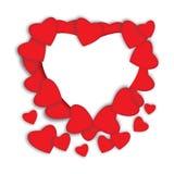 красный цвет поднял Абстрактные бумажные сердца Влюбленность - иллюстрация Стоковая Фотография