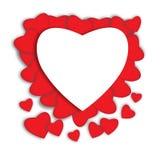красный цвет поднял Абстрактные бумажные сердца Влюбленность - иллюстрация Стоковое фото RF