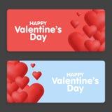 красный цвет поднял Абстрактные карточки с сердцами Стоковое фото RF