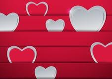 красный цвет поднял Сердца отрезанные от бумаги Стоковые Фото