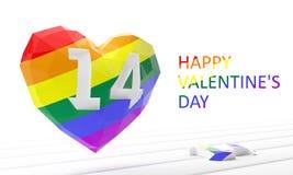красный цвет поднял Сердце гомосексуально иллюстрация 3d представляет иллюстрация вектора