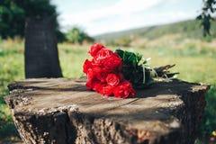 красный цвет поднял цветки, кольца и оформление свадьбы романтичный шум Стоковая Фотография