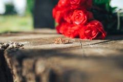 красный цвет поднял цветки, кольца и оформление свадьбы романтичный шум Стоковое Изображение RF