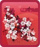 красный цвет предпосылки флористический Стоковое Изображение RF