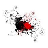 красный цвет предпосылки черный splatters свирли Стоковые Изображения