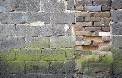 Красный цвет, предпосылка brickwall коричневого цвета пакостная Стоковая Фотография RF