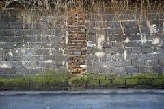 Красный цвет, предпосылка brickwall коричневого цвета пакостная Стоковое фото RF