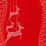 красный цвет приветствию оленей рождества карточки Стоковые Фотографии RF