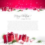красный цвет приветствию рождества карточки Стоковое Изображение RF