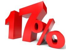 Красный цвет 17 процентов  Скидка 17% Стоковые Изображения