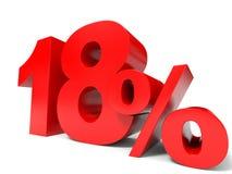 Красный цвет 18 процентов  Скидка 18% Стоковое Изображение RF