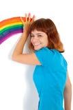 красный цвет радуги ладони девушки притяжки с волосами Стоковое Изображение RF