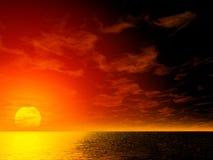 красный цвет рассвета painterly Стоковое Изображение
