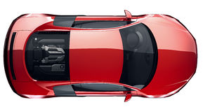 Красный цвет резвится автомобильное взгляд сверху Стоковое Фото